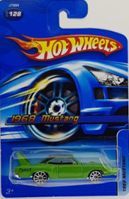 Picture of 1968 Mustang Green Hotwheels cars.